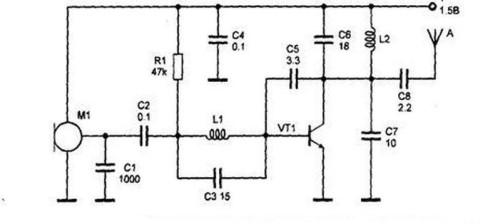Рис. 1 . Схема миниатюрного радиопередатчика с питанием от батарейки от часов.
